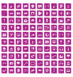 100 multimedia icons set grunge pink vector image