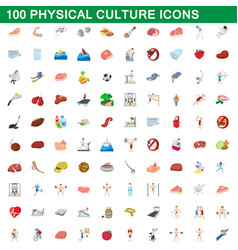 100 physical culture icons set cartoon style vector image
