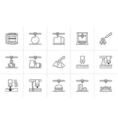 3d printing technology hand drawn outline doodle vector image