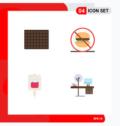 4 thematic flat icons and editable symbols of vector