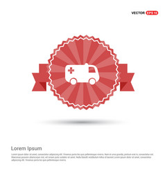 ambulance icon - red ribbon banner vector image