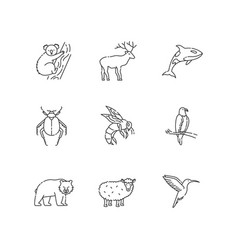 animal species pixel perfect linear icons set vector image