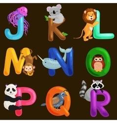 animals alphabet set for kids abc education vector image