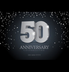 anniversary 50 silver 3d numbers vector image