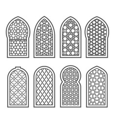 arabian window with ornament - grating decorated vector image