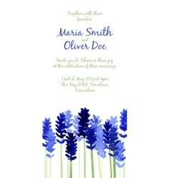 background with blue watercolor lavender vector image