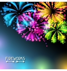 Background with bright colorful fireworks vector