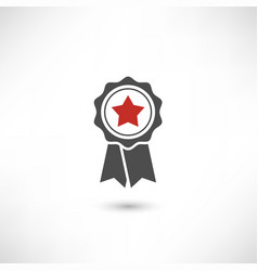 Badge star red vector