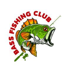 bass fishing club bass fish and fishing rod vector image