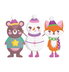bear fox and snowman with hats and scarf merry vector image