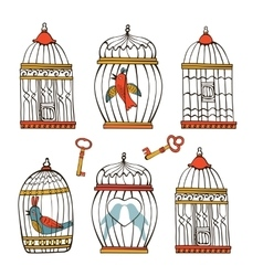 Beautiful collection of bird cages and little vector