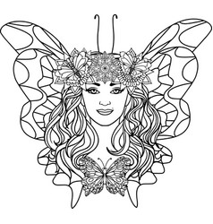 Beautiful woman butterfly vector