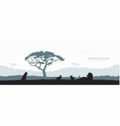 Black silhouette lion pride landscape vector