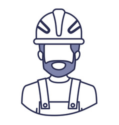 Blue contour of half body of faceless bearded male vector
