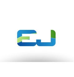 Blue green ej e j alphabet letter logo vector