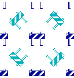 Blue road barrier icon isolated seamless pattern vector
