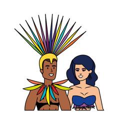 Brazilian dancers couple characters vector