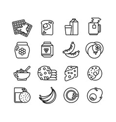 Breakfast hot meal line icons vector