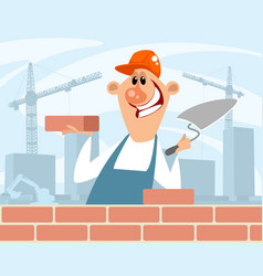Bricklayer at a construction site vector