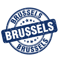 Brussels blue grunge round vintage rubber stamp vector