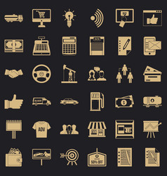 business data icons set simple style vector image