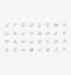 business icon set in linear style finance vector image