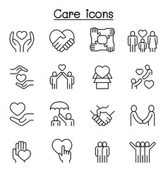 Care generous and sympathize icon set in thin vector