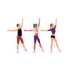 cartoon dance group people standing in elegance vector image