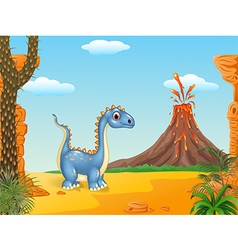 Cartoon funny dinosaur vector