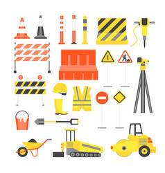 Cartoon road construction color icons set vector
