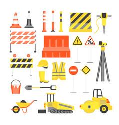 cartoon road construction color icons set vector image vector image