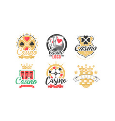 casino and card poker logo design set vector image