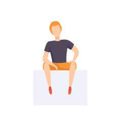 casually dressed young man sitting front view vector image