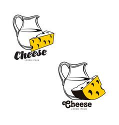 Cheese with milk jug brand logo icon set vector