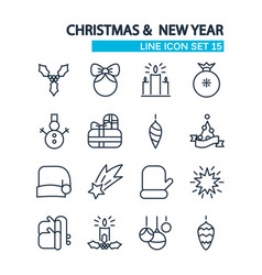 christmas lined icons set vector image