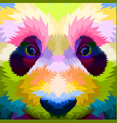close up face colorful panda vector image