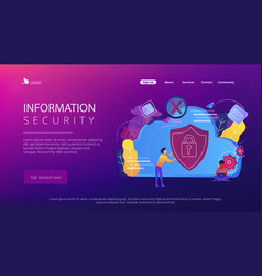 cloud computing securityconcept landing page vector image