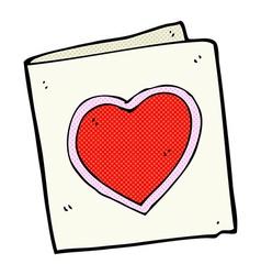 Comic cartoon love heart card vector