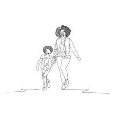 Continuous line mother and daughter with curly vector