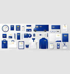corporate branding identity template design blue vector image