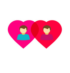 Couple gay in love hearts flat homosexual vector