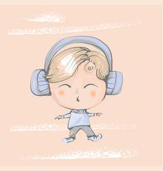 Cute baby boy with big earphones listening music vector