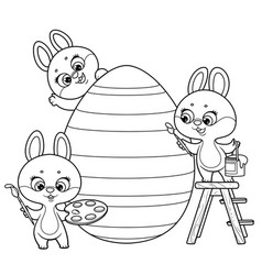 cute cartoon little rabbits with paints vector image