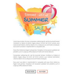 Discount summer sale poster vector