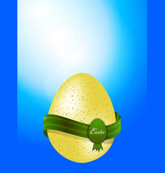 Easter egg with banner on blue sky background vector