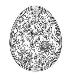 easter eggs with floral pattern for coloring book vector image