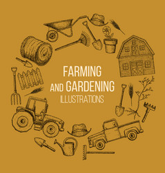 Farming agricultural instruments vector