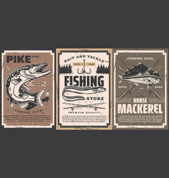 Fishing club and tackle shop retro banners vector