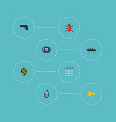 flat icons virus gun safe and other vector image
