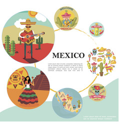 flat travel to mexico colorful template vector image